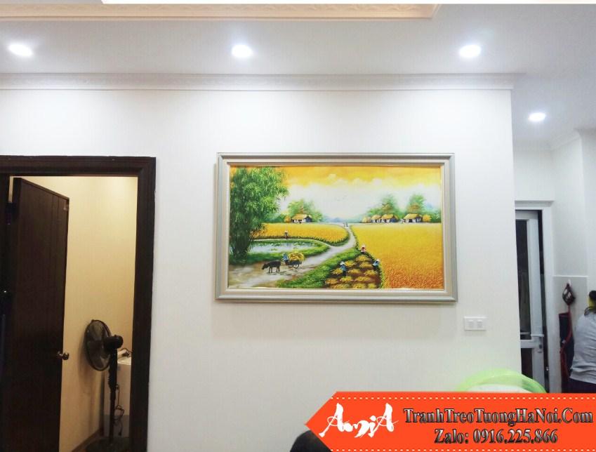Tranh canh dong lua chin treo phong khach chung cu dep nhat amia tsd 195