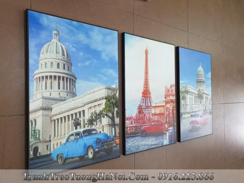 Bo 3 tranh canvas phong canh nuoc ngoai thap eiffel amia 1706