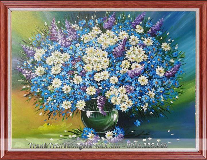 Tranh binh hoa cuc mau xanh son dau tuyet dep amia tsd 91904