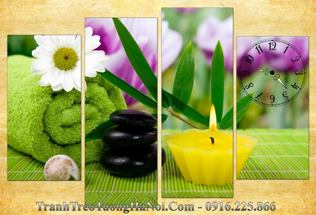 Tranh ghep 4 tam hoa cuc nen vang spa amia sp172