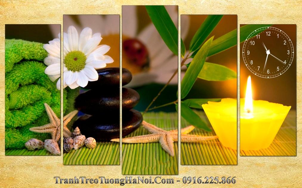 Tranh ghep 5 tam spa hoa cuc nen vang amia sp173