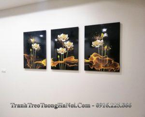 Tranh hoa sen amia 1622 treo tuong 3D