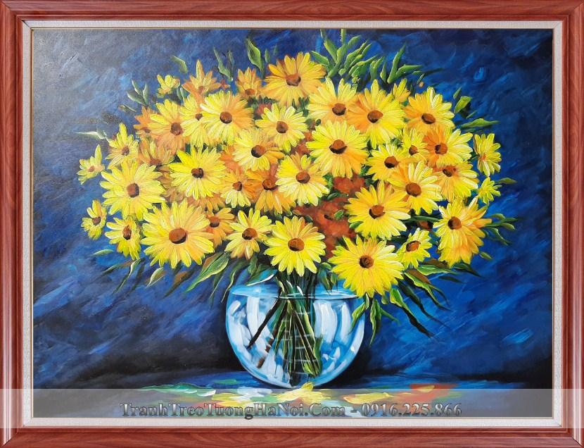 Tranh son dau binh hoa cuc vang tsd 91909