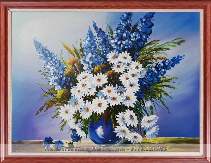 Tranh son dau binh hoa cuc xanh dep sang trong amia tsd 91913