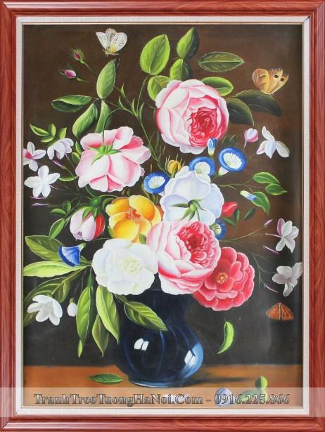 Tranh son dau hoa hong phap amia tsd 345