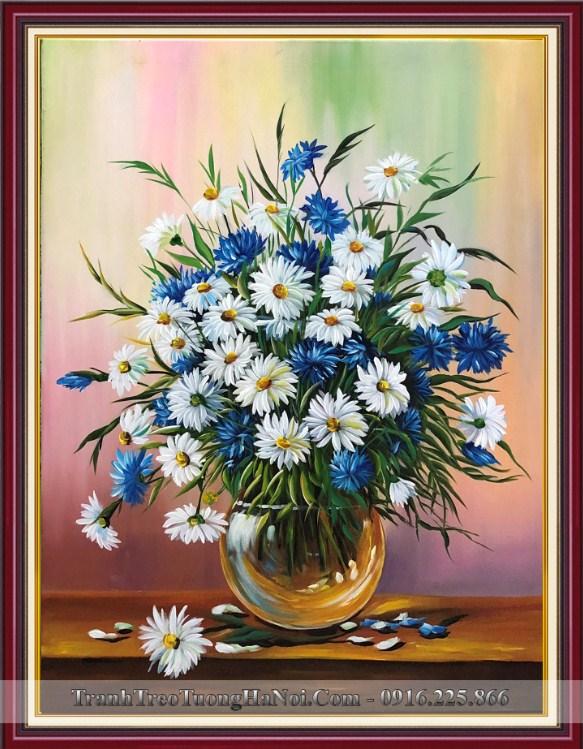 Tranh ve binh hoa cuc hoa mi xanh trang son dau
