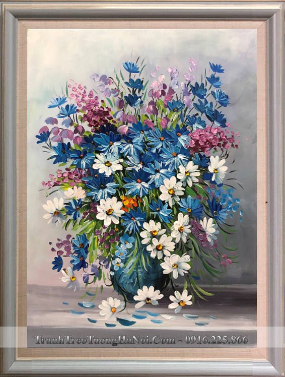 Tranh ve binh hoa cuc xanh trang hoa mi son dau