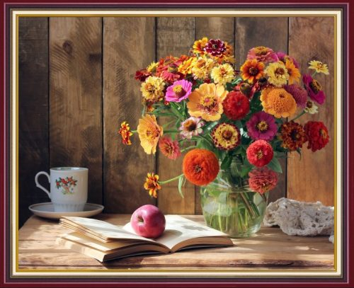 Tranh binh hoa cuc va tach tra buoi sang treo tuong phong an amia