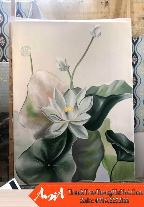 Buc tranh hoa sen trang son dau dep