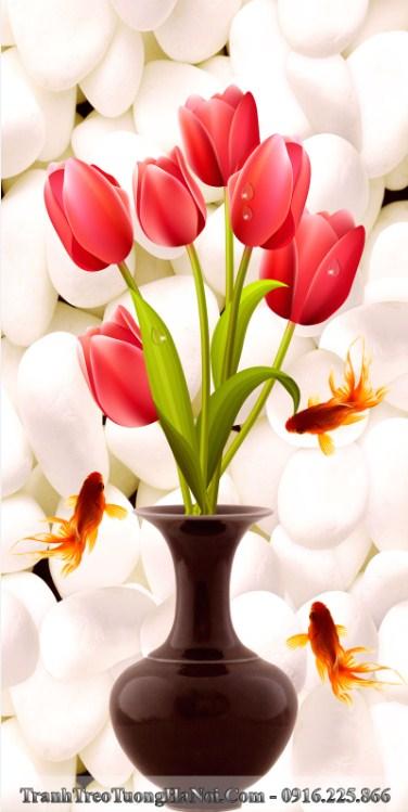 Tranh 3d binh hoa tulip ca vang treo tuong hien dai amia 1431