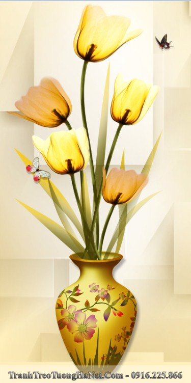 Tranh 3d binh hoa tulip vang treo tuong thu hut tai loc amia 1431