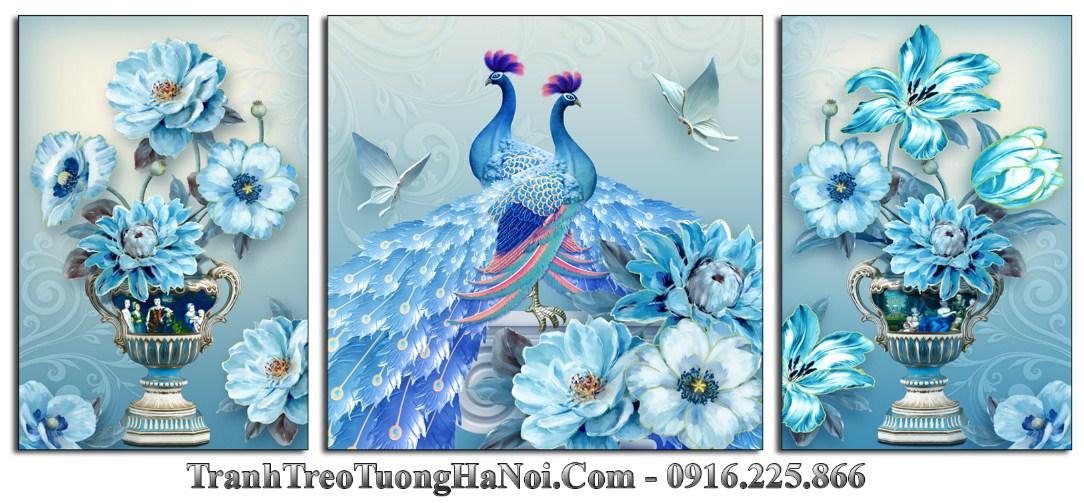 Tranh 3d binh hoa va doi chim xanh quy toc amia 1531