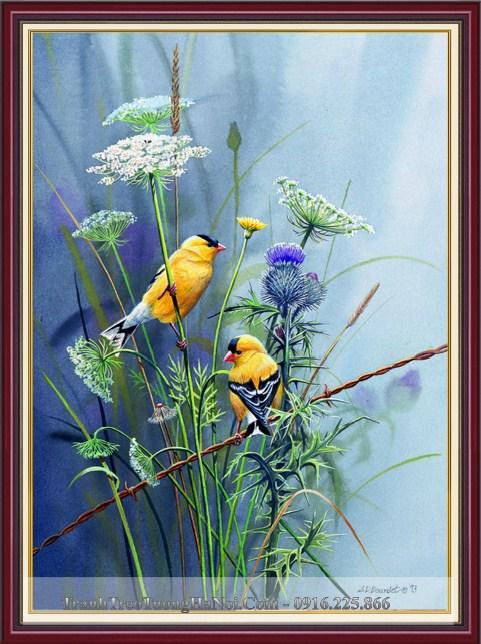 Tranh 3D hai chu chim dau tren nhanh hoa nghe thuat amia 1366