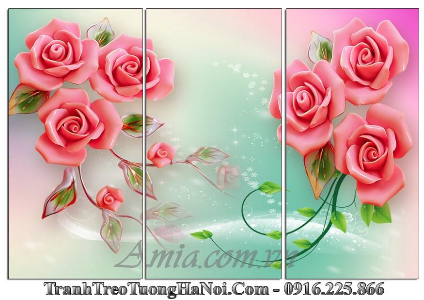 Tranh 3d hoa hong trang tri phong khach phong ngủ dep amia 1134
