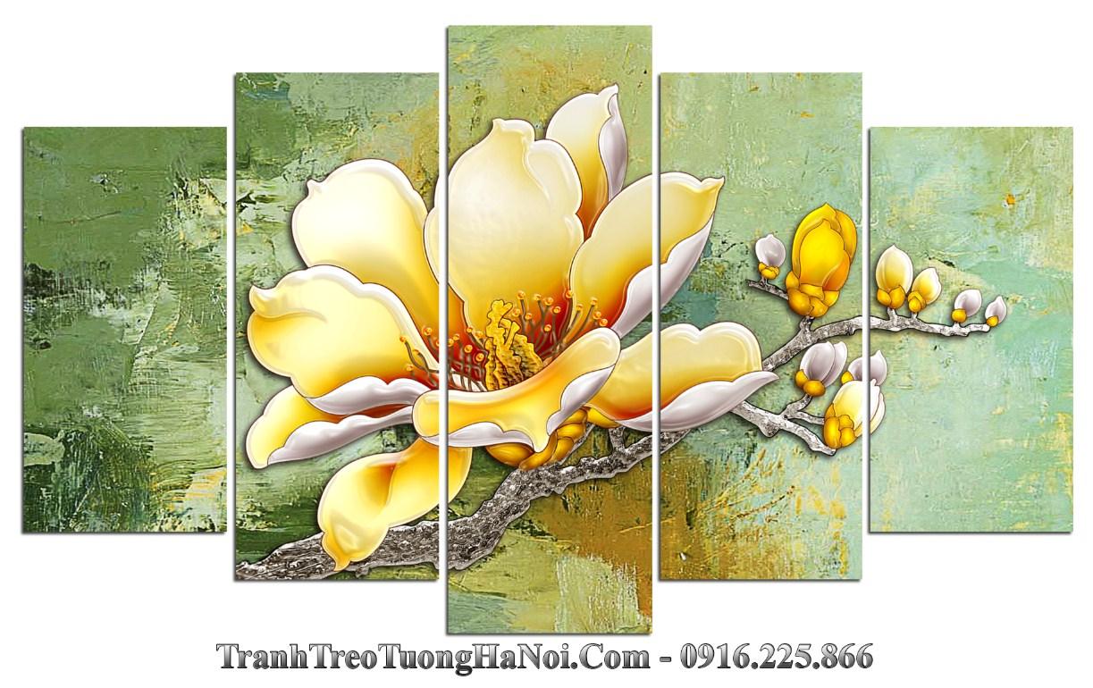 Tranh 3D hoa moc lan cuc dep treo phong khach phong ngu amia 1419