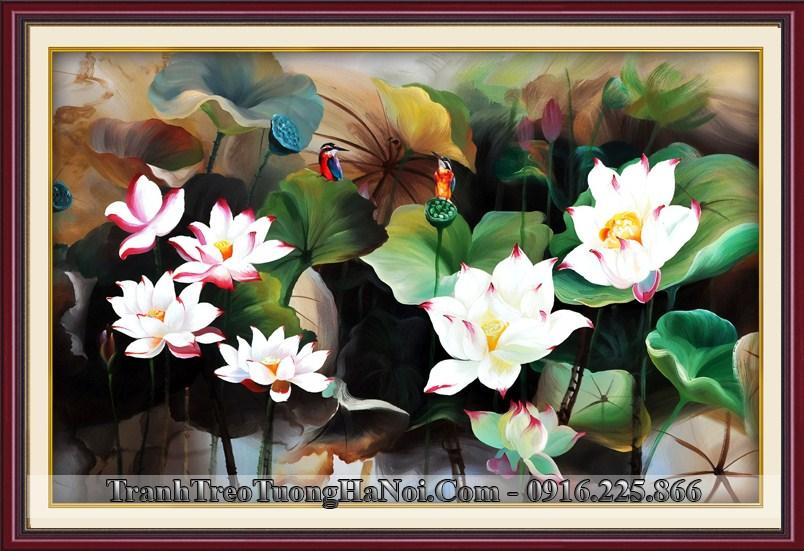 Tranh 3D phong canh hoa sen chim hoa nghe thuat amia 1636