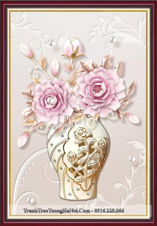 Tranh binh hoa hong 3D sang trong hien dai amia 919039
