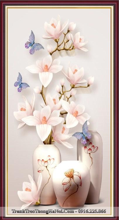 Tranh binh hoa moc lan 3D treo tuong dep y nghia amia bh126