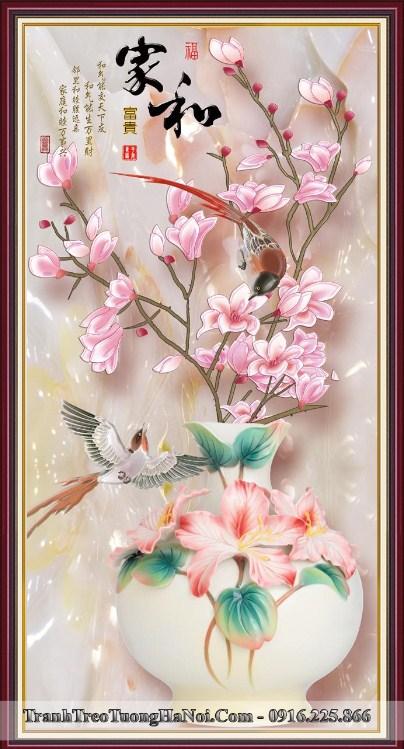 Tranh binh hoa moc lan chim en 3d treo ngay tet amia bh124
