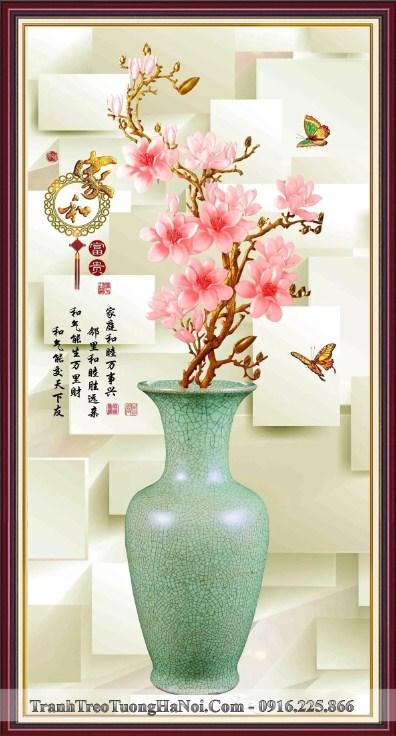 Tranh binh hoa moc lan phuc loc 3D trang tri tet amia bh125