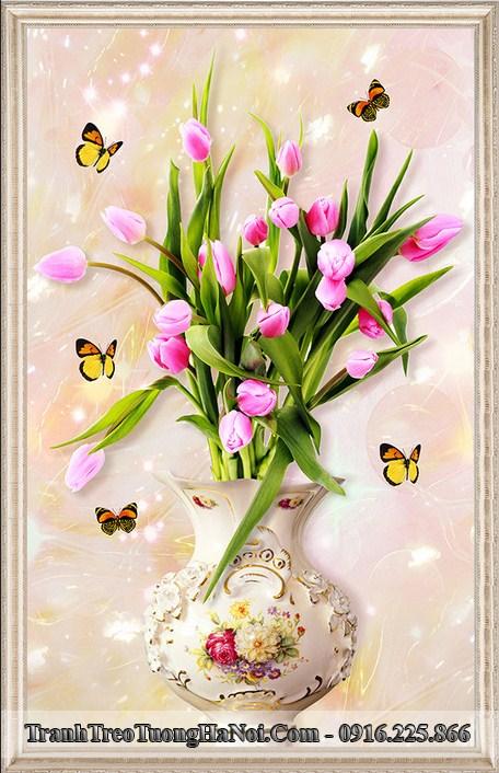 Tranh binh hoa tulip 3D treo tuong amia 919096