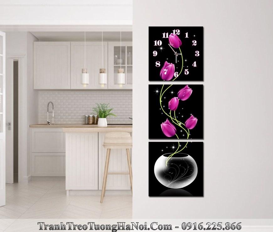 Tranh binh hoa tulip tom treo tuong kieu dung dep amia kd113