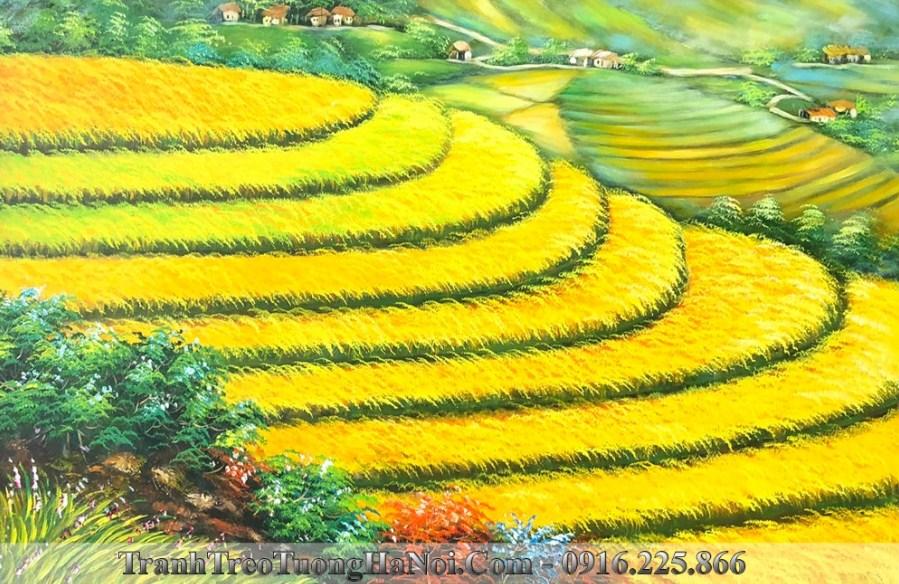 Tranh canh dong que lua chin ruong bac thang AmiA TSD 442