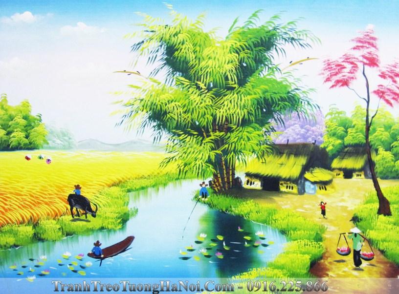 Tranh canh dong que ven song AmiA TSD 369C