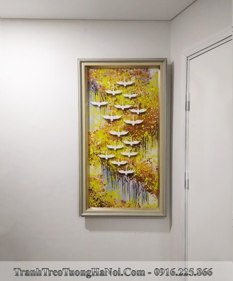 Tranh canvas dan chim vang treo tuong kieu dung canh tu giay