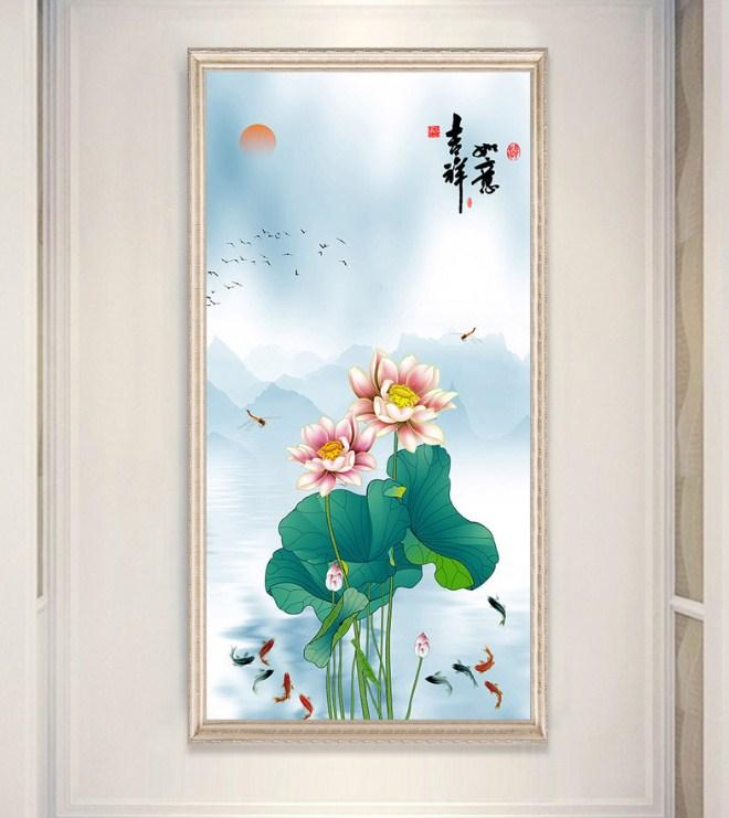 Tranh canvas hoa sen ca quan tu sum vay amia sen 128