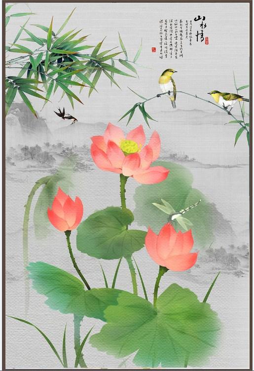 Tranh canvas hoa sen gia son dau amia sen 138