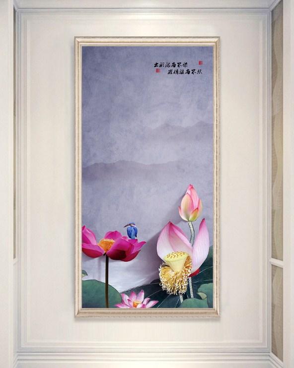 Tranh canvas hoa sen kho dung an yen amia sen 117
