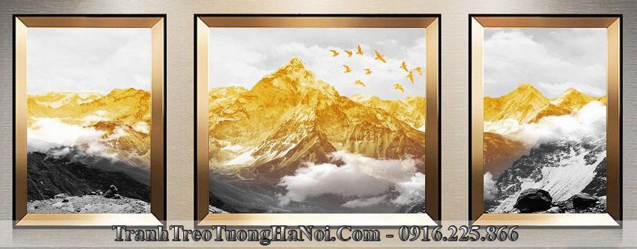 Tranh canvas nui vang 3D dep y nghia treo phong khach amia cv119