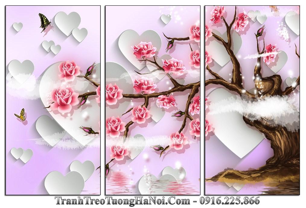 Tranh cay hoa hong tinh yeu 3D treo phong ngu dep amia 1353