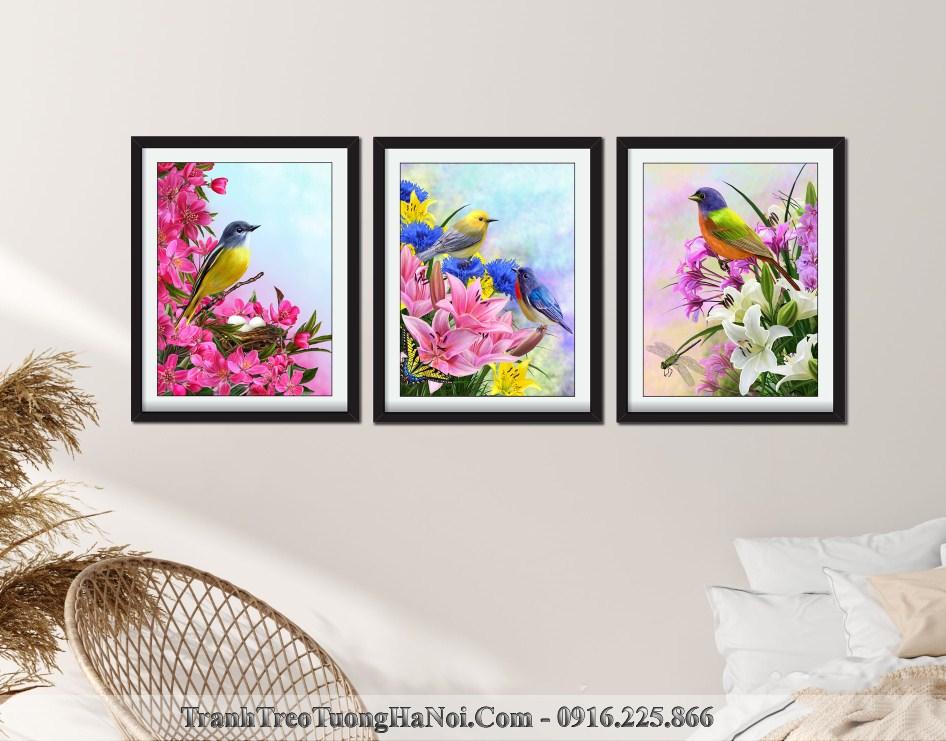 Tranh chim va hoa don xuan ron rang amia 1027