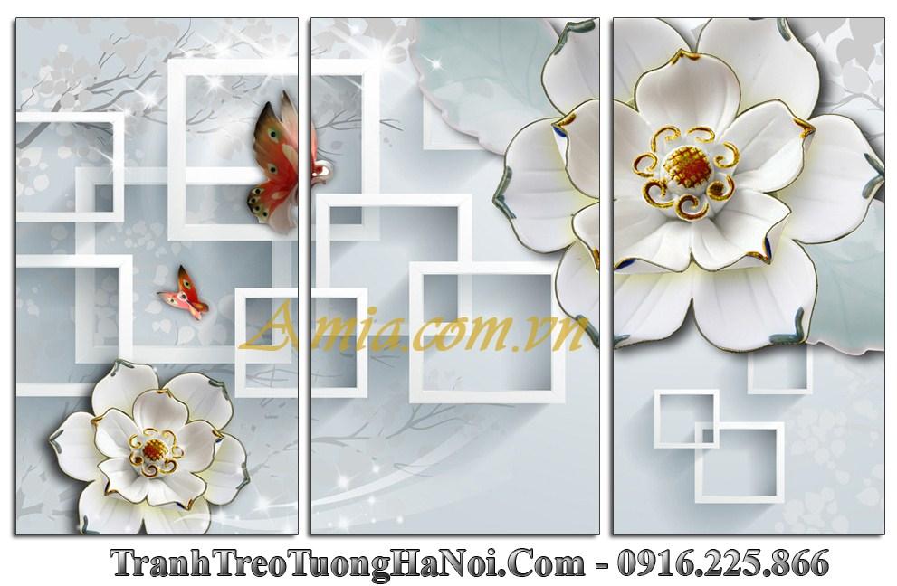 Tranh hoa buom amia 1138 treo tuong 3D