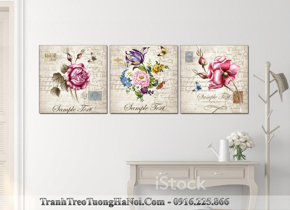 Tranh hoa hong vintage trang tri tren tu giay amai 1583
