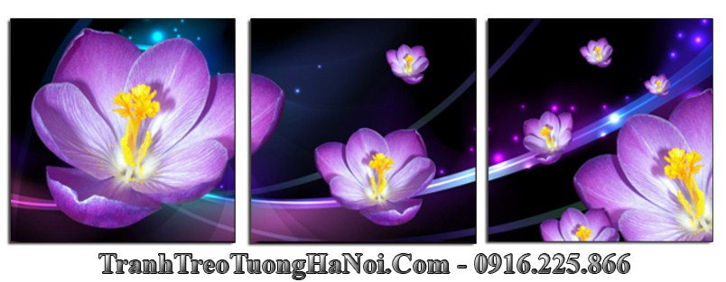 Tranh hoa mau xanh tim 3d ghep 3 tam hien dai amia 1147