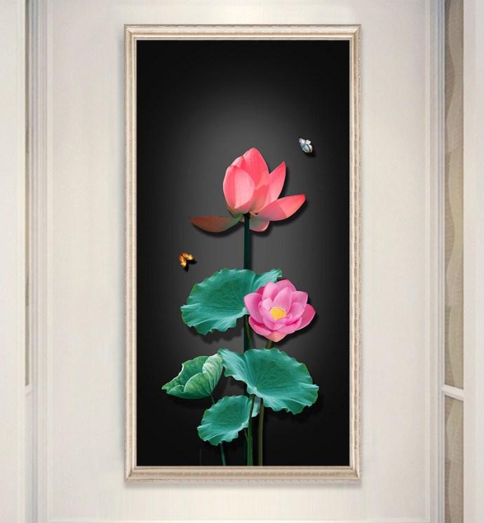 Tranh hoa sen 3D canvas treo tuong amia sen 130