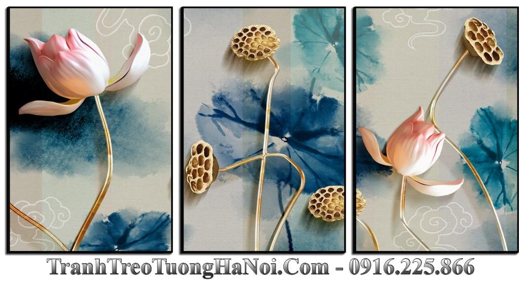 Tranh hoa sen 3D treo tuong hien dai amia 1493