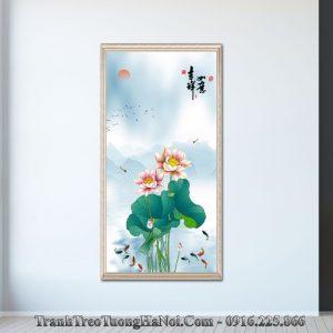 Tranh hoa sen ca chep kho dung amia sen 128