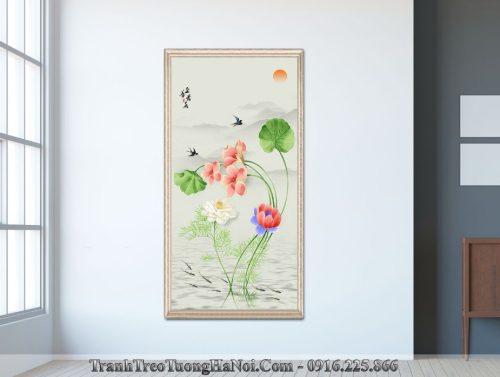 Tranh hoa sen canvas treo tuong amia sen 133