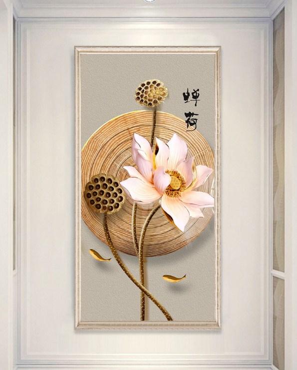 Tranh hoa sen canvas trong dong amia sen 134