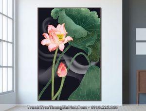 Tranh hoa sen in canvas hien dai amia sen 135