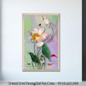 Tranh hoa sen toa sac huong canvas amia sen 137