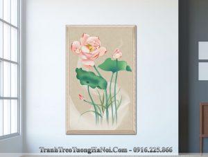 Tranh hoa sen treo tuong canvas kieu dung amia sen 123