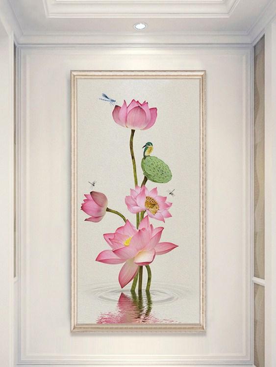Tranh kho dung canvas hoa sen chuon chuon amia sen139