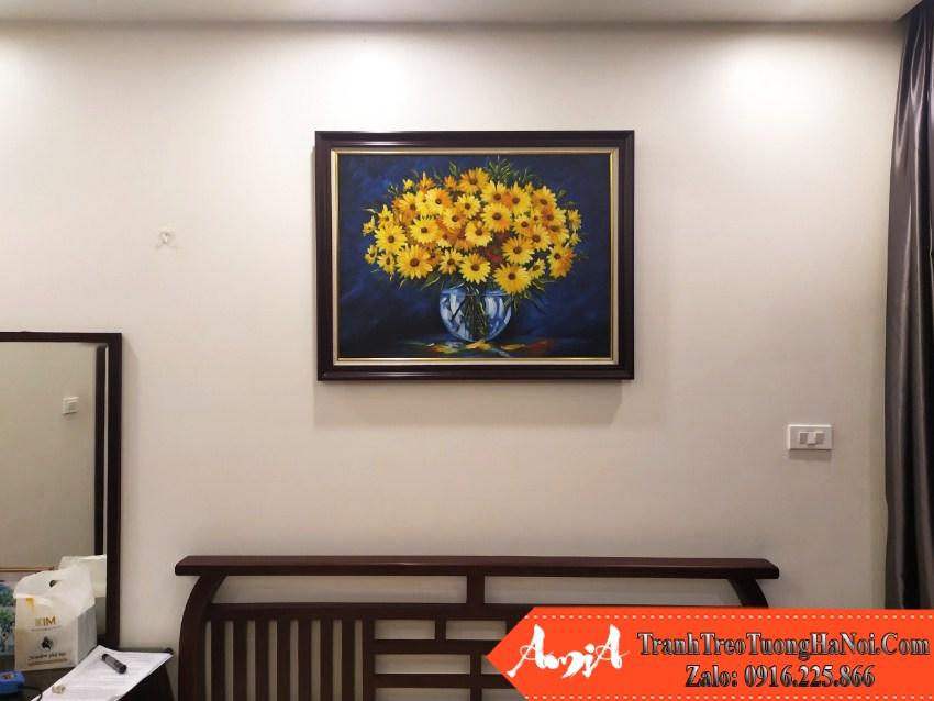 Tranh trang tri ban an phong khach binh hoa son dau amia tsd 91909