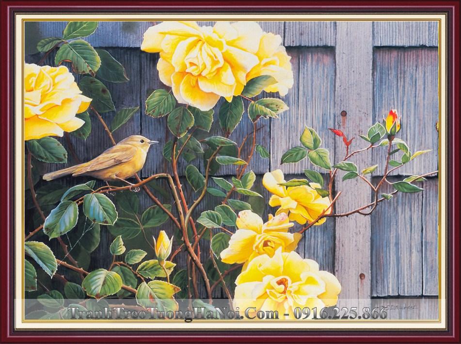 Tranh treo 3D hoa dieu chim va hoa hong vang amia 1367