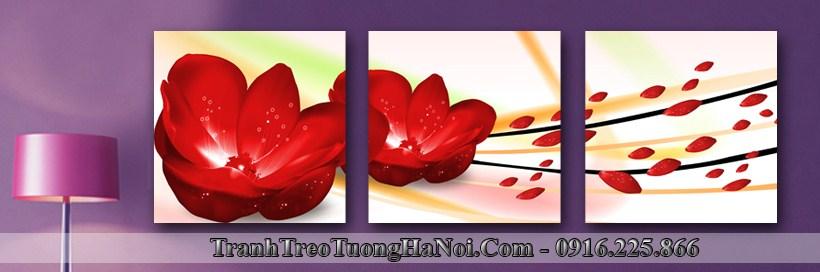 Tranh treo tuong 3D amia 1148 hoa do nong nan
